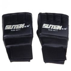 5716a152d JHO-SUTEN PU Half Mitts Mitten MMA Muay Thai Training Punching Sparring  Boxing Gloves Black