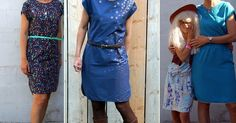 """Gratis patroon: """"Roman Tunic"""" kan ook in stretchstof. (met een """"stretchstof-tip"""" als toemaatje! Simple Dresses, Dresses For Work, Simple Dress Pattern, Diy Clothes And Shoes, Dress Skirt, Shirt Dress, Sewing Patterns Free, Sewing Ideas, Two Piece Skirt Set"""