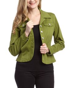 Loving this Light Olive Jacket on #zulily! #zulilyfinds