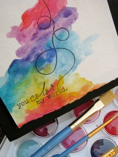 watercolor card // use a pretty Thank you stamp for easy diy cards