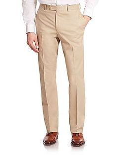 Saks Fifth Avenue Collection Stretch Cotton Dress Pants  - Tan - Size