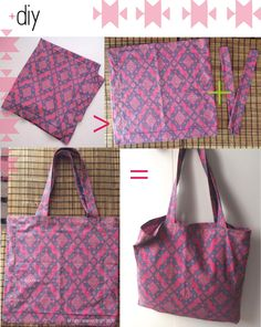 Great bag for a beginner to make...made out of a pillowcase.  Go to site, then find it under DIY more than half way down.