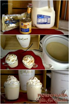 Crock Pot RumChata White Hot Chocolate recipe is one of the most decadent drink recipes I have ever experienced. It was rich and luscious to drink. Great for warming up on chilly winter nights. Christmas Drinks, Holiday Drinks, Party Drinks, Fun Drinks, Yummy Drinks, Holiday Recipes, Christmas Foods, Winter Recipes, Cocktail Drinks