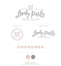 Knitting Logo design and Logo Stamp  Yarn Logo  by IndieGrace