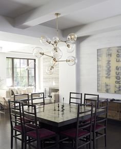 Lindsey Adelman chandelier dining room by Steffani Aarons