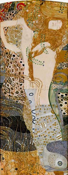 Scarlet Quince cross stitch chart: Water Serpents I - Gustav Klimt