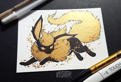 If you remember the Black and Gold Vaporeon I drew a couple months ago, here's the rest of the Eeveelutions in the same style! - Imgur