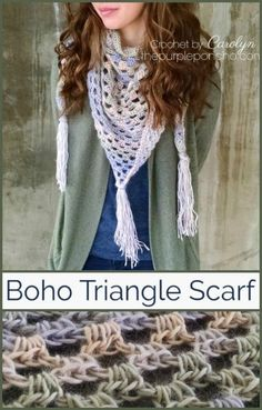 Boho Triangle Scarf A Free Crochet Pattern on The Purple Poncho #crochet #boho #bandana #scarf #thepurpleponcho