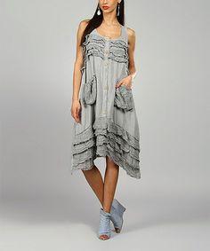 Look what I found on #zulily! Gray Clara Linen Sidetail Dress by 100% LIN BLANC #zulilyfinds