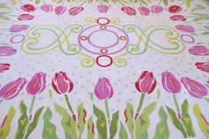 Custom Tulip Rug! Hot pink, light pink, acid green, green, red, orange, and yellow colors! LoLo Moore Design Custom Rugs