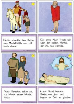 neue-lesekarten-zu-sankt-martin - Zaubereinmaleins - DesignBlog Hl Martin, Kindergarten Portfolio, Catechism, Card Reading, Saints, Education, Comics, School, Kids