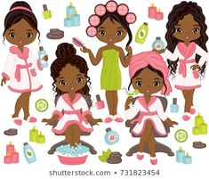Set includes beautiful young African American girls taking spa treatment. Vector African American girls with various hair styles. Clipart Baby, Superhero Clipart, Girl Spa Party, Kids Spa, Spa Birthday Parties, Girls Clips, Baby Clip Art, African American Girl, Birthday Pictures