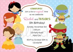 Split invitation in Disney Princesses inspired and Teenage Mutant Ninja Turtle (TMNT) themes. Perfect for joint birthday party.