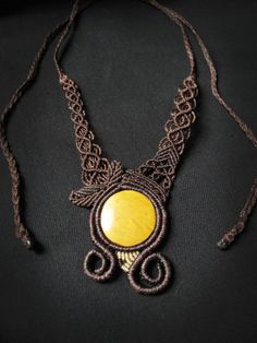 Macrame necklace forest, woodlands, spiral, yellow jaspe,