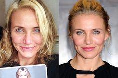 Cameron Diaz Before and After Makeup Look |Makeup Tutorials http://makeuptutorials.com/23-celebrities-before-and-after-makeup-transformations