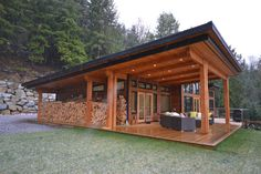 Custom Framed House Package with Hybrid Timber Frame and Decorative Timbers Small Rustic House, Tiny House Cabin, Small House Design, Barn House Plans, Small House Plans, Cottage House Plans, Cottage Homes, Timber Frame Cabin, Sauna House