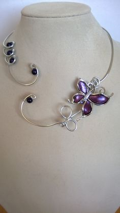 Your place to buy and sell all things handmade Purple Necklace, Wire Necklace, Wire Wrapped Necklace, Butterfly Necklace, Butterfly Jewelry, Funky Jewelry, Black Jewelry, Metal Jewelry, Handmade Jewelry