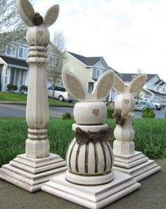Bunnies made from table legs. I think you could use candlesticks ...