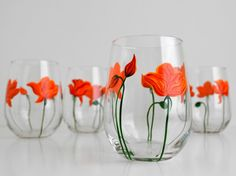 Orange Poppies Stemless Wine Glasses for Mothers Day. Hand Painted by MaryElizabethArts.com