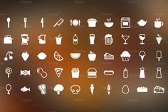 Snack Time - 50 Food Themed Icons by The Warehouse on @creativemarket