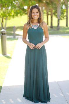 Hunter Green Maxi Dress with Crisscross Back