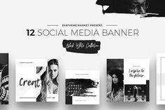 Black & White Social Media Designs by Evatheme Market on @creativemarket Social media creative design posts for promotion marketing design templates. Use it for quotes, tips, photos, etiquette, ideas, posts or for presentation your business agency, products sales or designs. Ready to use on Instagram, Pinterest, Facebook, Twitter your Blog or Website.