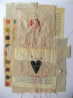 Cathy Cullis born in London England. Studied English and Art at university but consider. Collages, Collage Art, Embroidery Art, Machine Embroidery, Little Doll, Textile Artists, Fabric Art, Altered Art, Fiber Art