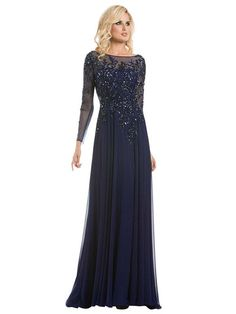 A-Line/Princess Scoop Sweep/Brush Train Long Sleeves Beading Chiffon Mother Of The Bride Dresses
