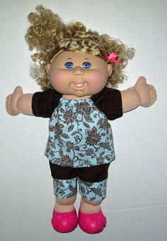 Cabbage Patch Doll Clothes Aqua and Brown Flower by Dakocreations