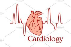 Cardiology concept with an ECG and h. Human Icons. $6.00