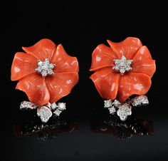 carved coral and diamond earrings by hawkantiques