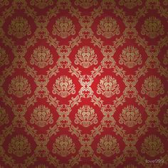 Red And Gold Wallpaper, Gold Damask Wallpaper, Velvet Wallpaper, Antique Wallpaper, Closet Vanity, Damasks, Lolita Cosplay, Fashion Wallpaper, Red Rooms