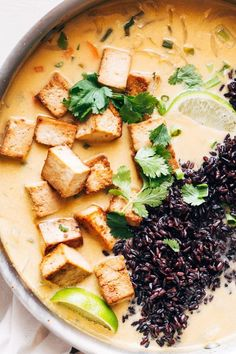 Ginger and Lemongrass Infused Thai Soup with Crispy Tofu and Wild Rice #vegan #thaisoup #tofu