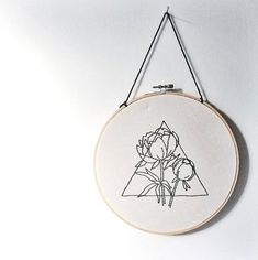 Triangle and Peony Hand Embroidered Wall Art Geometric Floral Prism triangle modern home decor embroidery fiber art gallery wall Hand Embroidery Stitches, Modern Embroidery, Embroidery Hoop Art, Cross Stitch Embroidery, Embroidery Designs, Geometric Embroidery, Geometric Art, Hand Stitching, Embroidery Tattoo