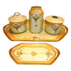 Fabulous  7 Piece Dresser Set~ Trays, Hat Pin Holder, Powder Box, Hair Receiver ~ Austrian Porcelain ~ Hand Painted Art Nouveau Yellow Roses ~ Moritz Zdekauer Austria 1884 – 1910