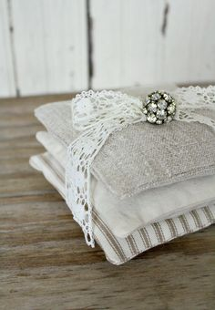 Lavender Sachets Hand loomed LinenTickingCanvas by timewashed,