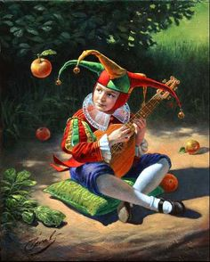 ~The Mandolin Player by Michael Cheval~