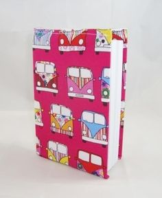 Campervans on Pink Fabric Covered A6 2014 Hardback Diary - Free UK P&P £8.00