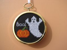 Handmade Cross Stitch Halloween Ghost and Pumpkin by RikkasCreations on Etsy
