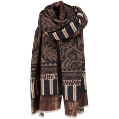 PIERRE-LOUIS MASCIA Fine woven scarf ($698) ❤ liked on Polyvore featuring accessories, scarves, pierre-louis mascia, floral scarves, floral print scarves, brown shawl and woven shawl