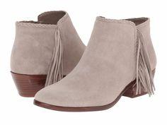 SAM EDELMAN SALE Paige Fringe Ankle Boots Bootie Putty Grey Suede Leather 8.5W #SamEdelman #AnkleBoots