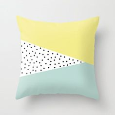 18x18 in Decorative Pillow Cover: Triangles, Polka Dots, Mint, Lime, Yellow, Colorful, Scandinavian, Modern, Abstract                                                                                                                                                                                 More