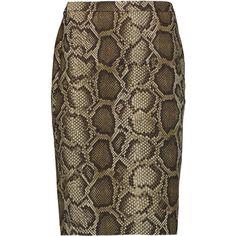 MICHAEL Michael Kors Columbia snake-print cotton-blend skirt (£59) ❤ liked on Polyvore featuring skirts, snake print, python skirt, michael michael kors, brown skirt, michael michael kors skirt and snake print skirt