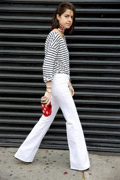 white pants and striped top #fashion #outfit