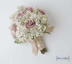Bridal Bouquet, Rustic Bouquet, Dusty Rose Bouquet, Baby's Breath, Wedding Bouquet, Silk Flower Bouquet, Wedding Flowers, Mauve, Silk Flower by blueorchidcreations on Etsy