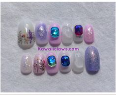 Pastel Glitter Flowers Quartz and Gems Gel Nail Art