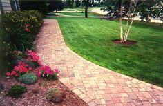Brick walkway landscaping