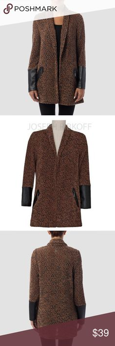 Joseph Ribkoff Autumn Cover-Up! The knitted Joseph Ribkoff cover up comes in caramel with black and features a rolled-collar neckline in addition to long sleeves with black fabric cuffs. A relaxed fit give this cover up a relaxed look. Joseph Ribkoff Jackets & Coats Blazers