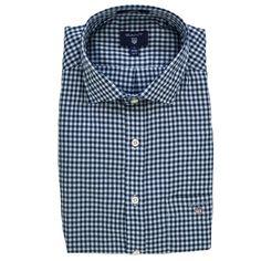 Gant Long Sleeved Gingham Shirt for Men in Persian Blue