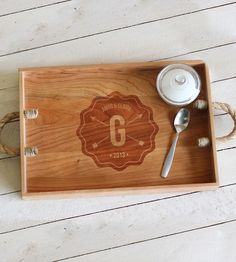 Custom Monogram Wood Serving Tray   Serve your most famous recipes in style with this custom servi...   Serving Trays